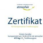 atmosfair CO2-Ausgleich-Zertifikat oberer Teil