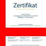 atmosfair Zertifikat Kristin - für die Flugreise von Berlin nach London
