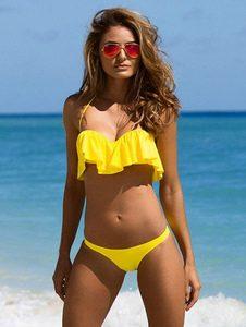 2 Piece Swimsuit Sexy Yellow Halter Ruffle Sleeveless Bikini Swimwear For Women