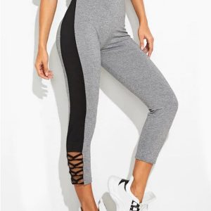 Criss Cross Marled Two Tone Graphic Gym Leggings
