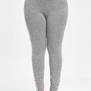 Crochet Lace Bottom Plus Size Leggings