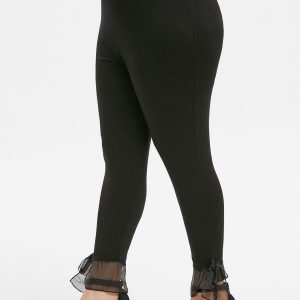 High Waisted Solid Knotted Hem Plus Size Leggings