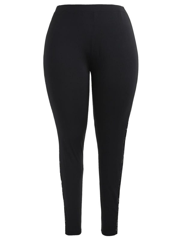 Lace Panel Plus Size Fitted Leggings