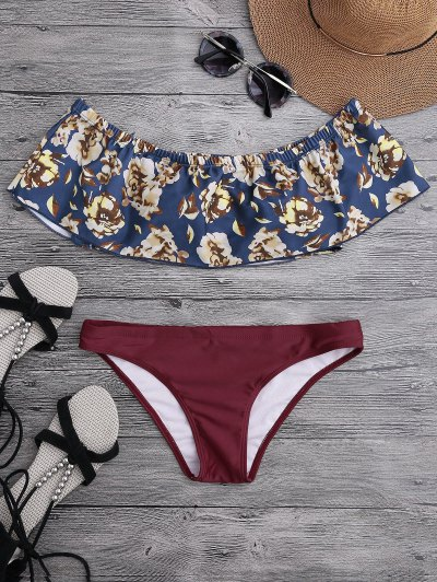 Off The Shoulder Overlay Floral Bikini