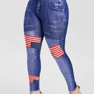 Plus Size American Flag Print Leggings