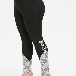 Plus Size Bowknot Lace Insert High Waisted Skinny Leggings