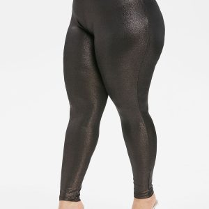 Plus Size High Waist Glossy Tight Leggings