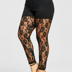 Plus Size Sheer Lace Insert Leggings