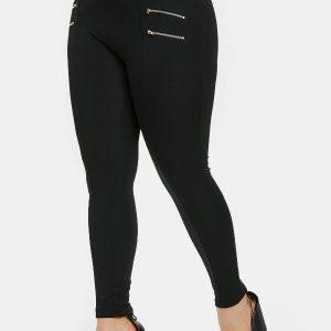 Plus Size Zips Embellished Elastic Waist Leggings