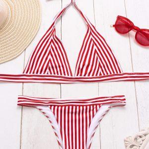 Red Stripes Triangle Bikini Set