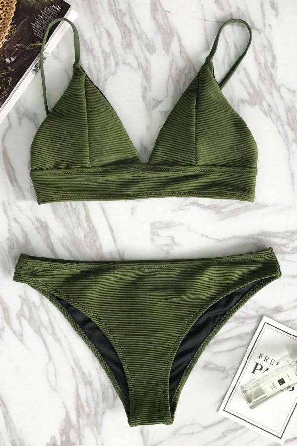 Relaxation Exercises Solid Bikini Set