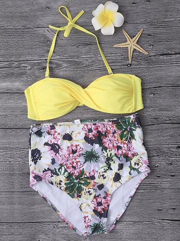 Sexy Halter Floral Multiple Patterns Bowknot High Waist Wireless Bikinis Sets For Women