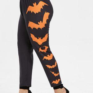 Side Bat Pattern Plus Size Elastic Waist Halloween Leggings