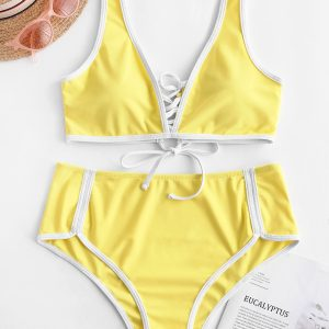 ZAFUL Contrast Piping Lace Up Reversible Bikini Swimsuit