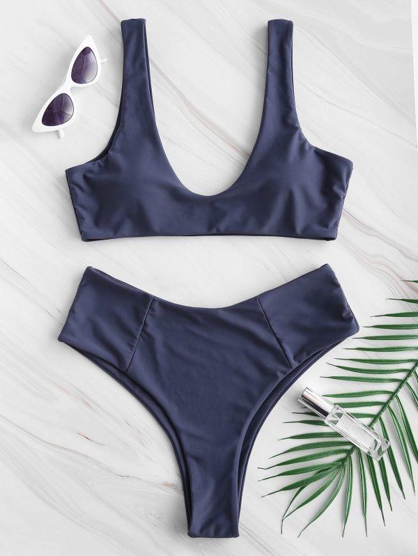 ZAFUL High Waisted Scoop Bikini Set