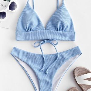 ZAFUL Ribbed Bralette Bikini Set