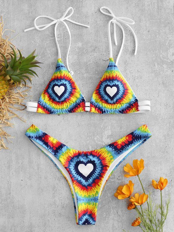 ZAFUL Tie Dye Heart Bikini Set