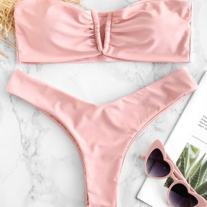 ZAFUL V Cut Bandeau Bikini Set
