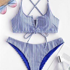 ZAFUL V-wired Striped Bikini Set